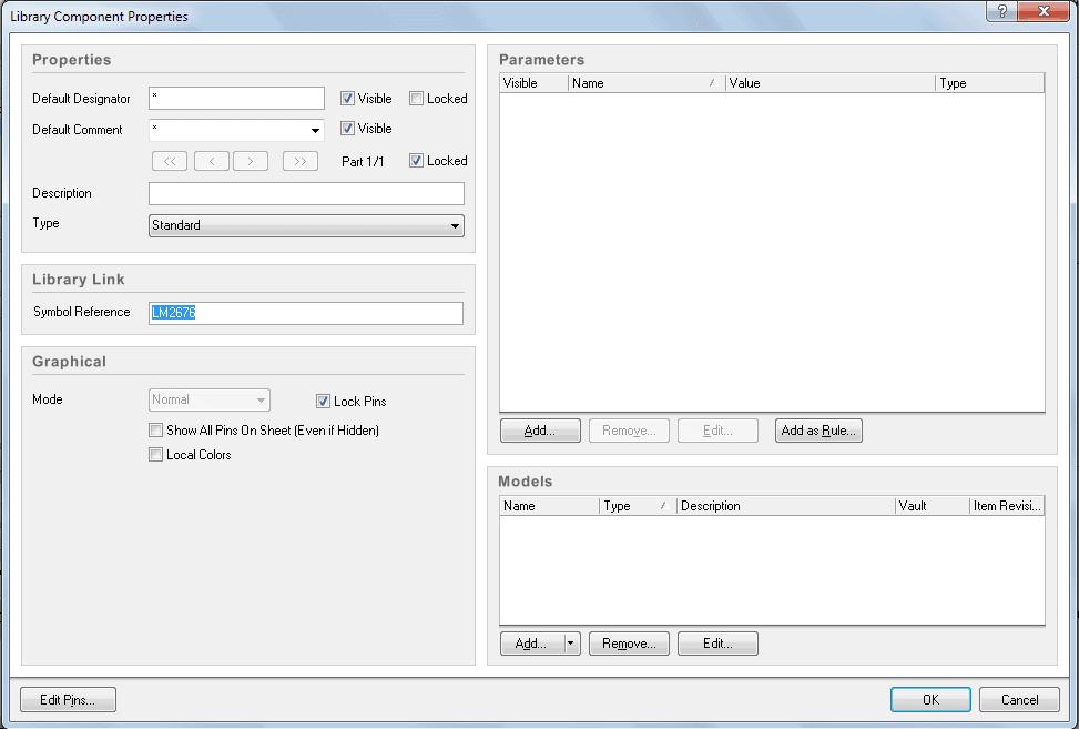 Создание нового компонента в Altium Designer 10