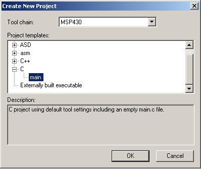 Создание нового проекта для MSP430