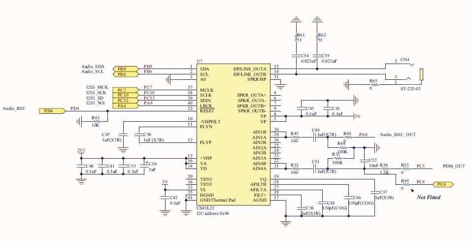 Схема подключения CS43L22