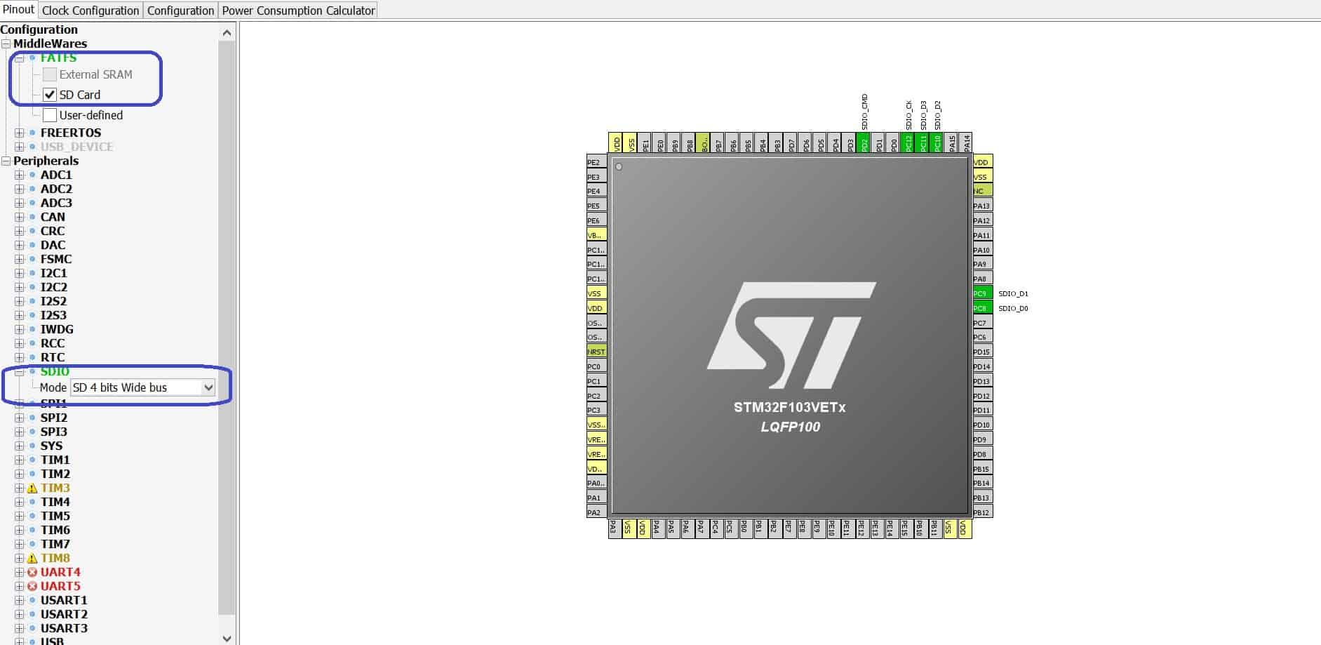 STM32Cube настройка SDIO
