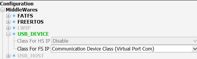 Настройка Virtual com port