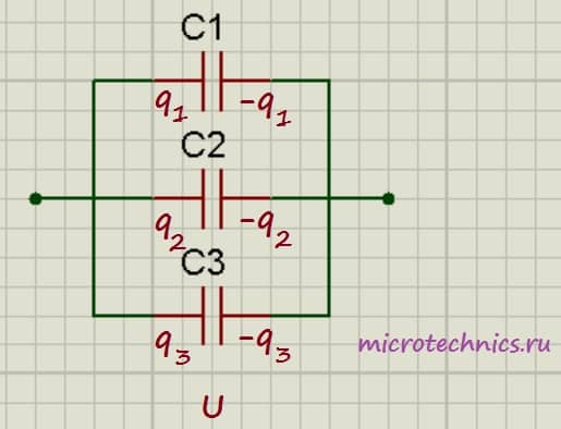 Параллельное соединение конденсаторов.