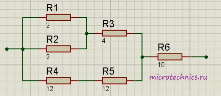 Смешанное соединение резисторов.