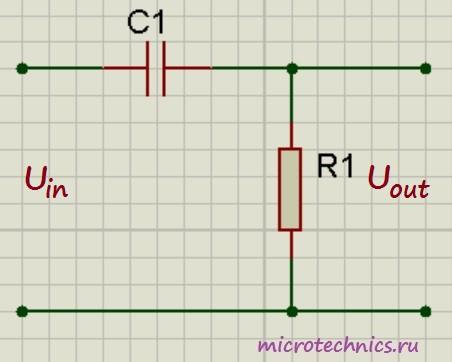 Дифференцирующая RC цепь
