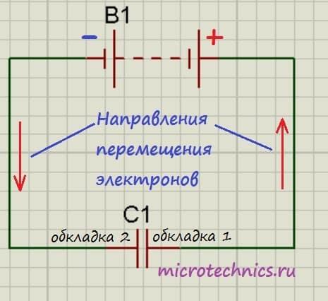 Схема зарядки конденсатора