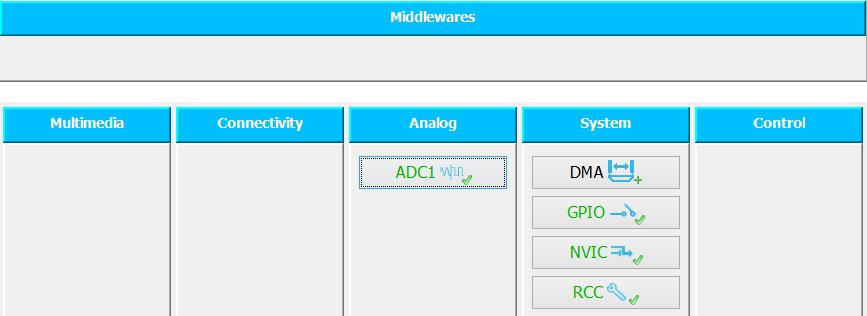 ADC settings.
