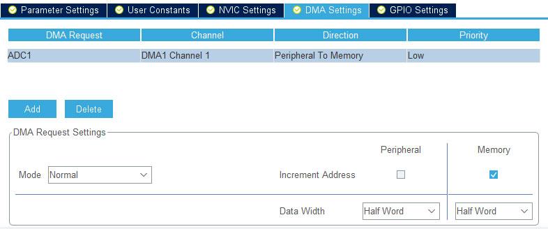 DMA канал для последовательных АЦП преобразований.