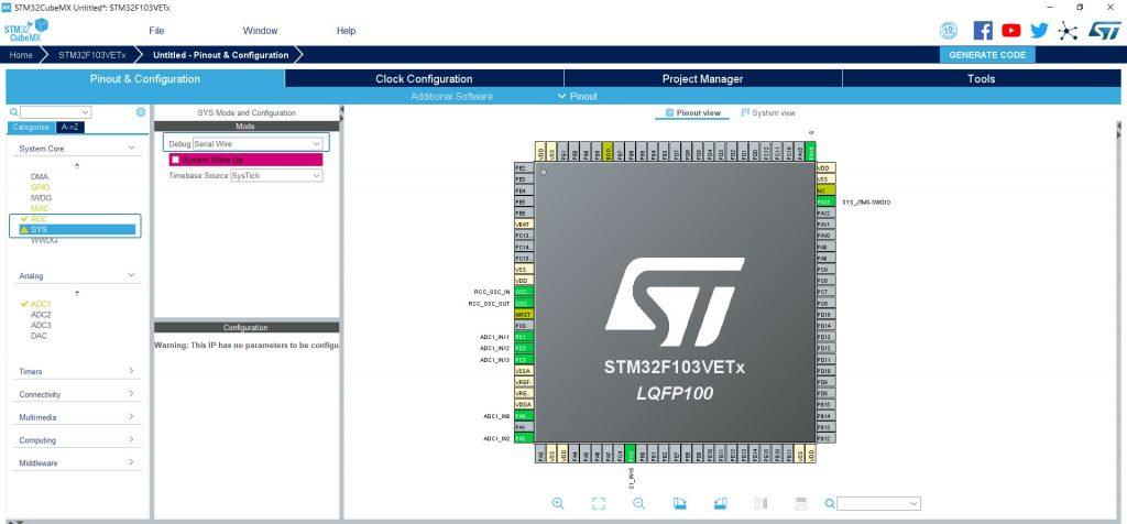 Настройка портов в STM32CubeMx.
