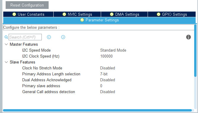 STM32 I2C STM32CubeMx settings