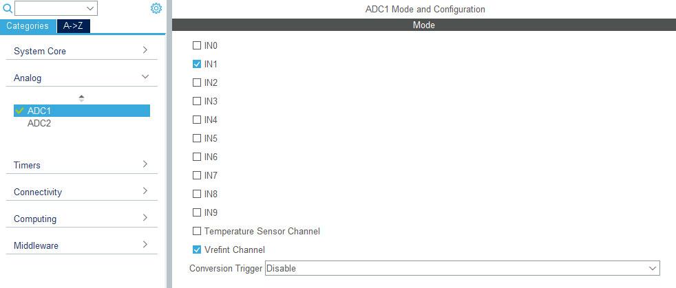 Настройка канала АЦП в STM32CubeMx.