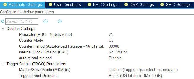 Настройки таймера в STM32CubeMx.