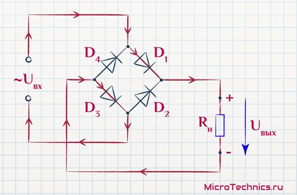 Токи в схеме двухполупериодного выпрямителя