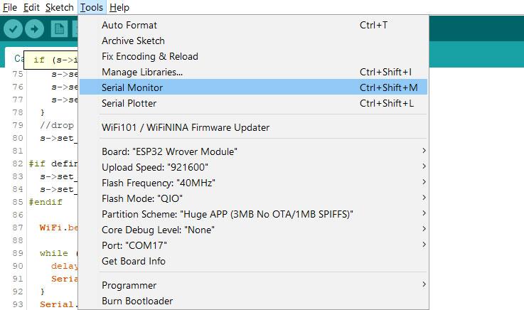 Arduino IDE Serial Monitor.
