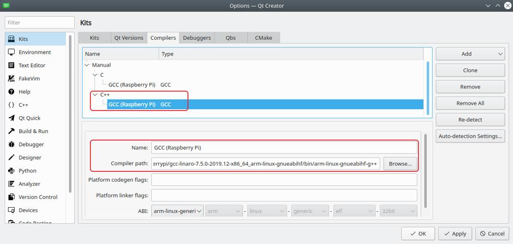 Qt Creator Raspberry Pi C++ compiler