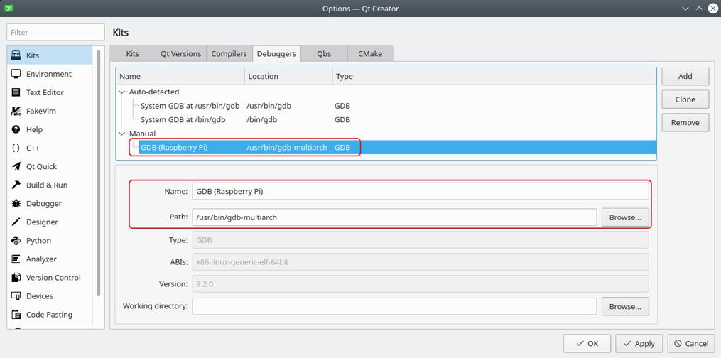 Raspberry Pi GDB debugger