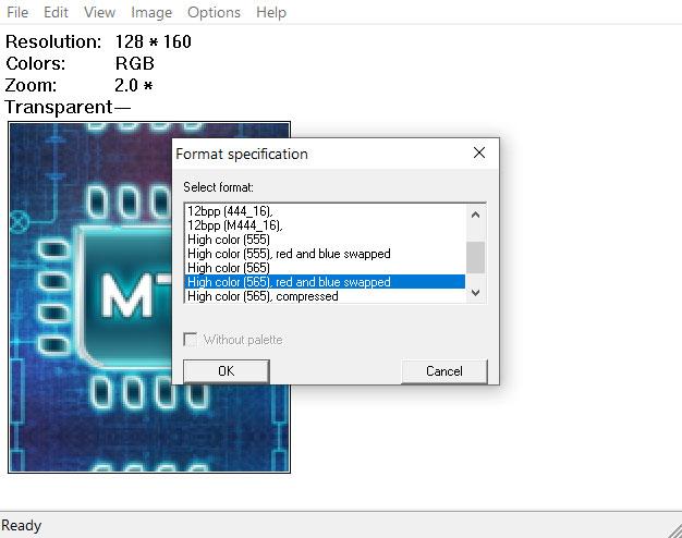 Конвертирование изображения для вывода, ST7735