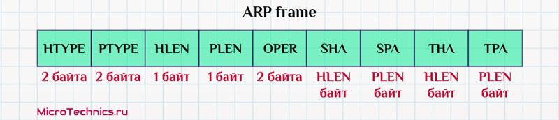 Структура запроса. Протокол ARP.